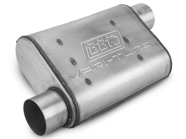 BBK Aluminized Varitune Offset/Offset Oval Muffler - 3 in. (Universal Fitment)