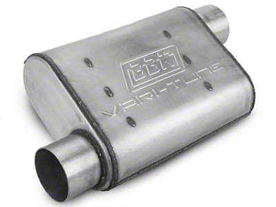 BBK Aluminized Varitune Offset/Offset Oval Muffler - 3 in. (79-04 All, Excluding 99-04 Cobra)