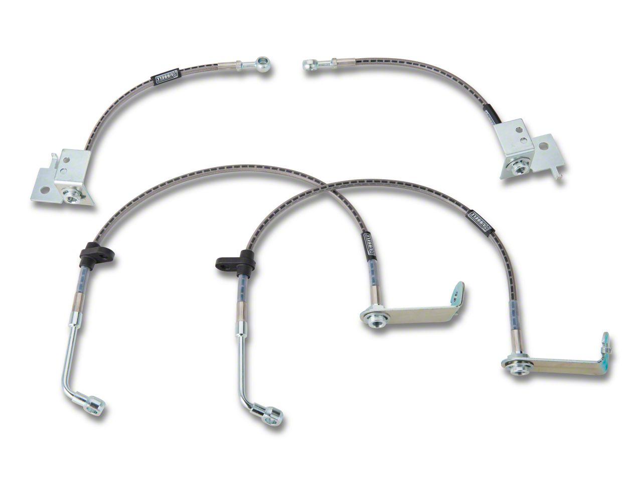 Silver Hose /& Stainless Green Banjos Pro Braking PBR8148-SIL-GRE Rear Braided Brake Line