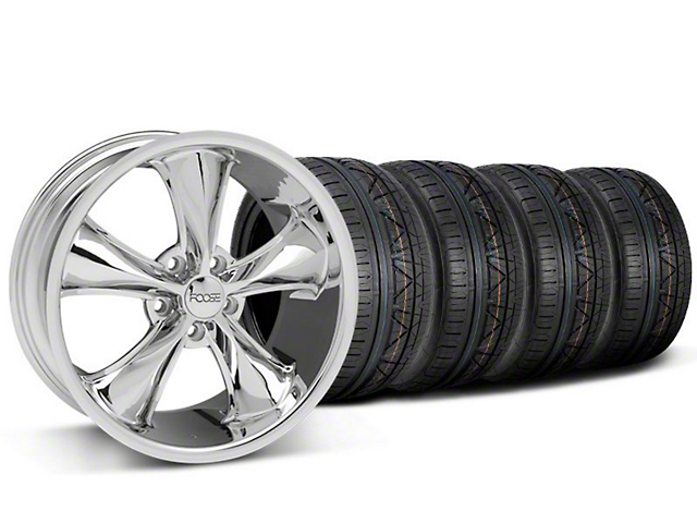 Staggered Foose Legend Chrome Wheel & NITTO INVO Tire Kit - 18x8.5/9.5 (05-10 GT, V6)