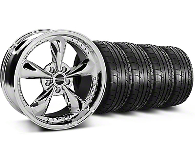 Staggered Bullitt Motorsport Chrome Wheel & Mickey Thompson Tire Kit - 18x9/10 (05-14 Standard GT, V6)