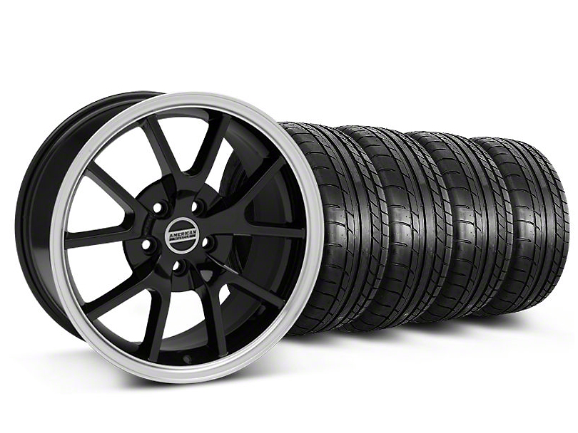 Staggered FR500 Style Black Wheel & Mickey Thompson Tire Kit - 18x9/10 (05-14 All)