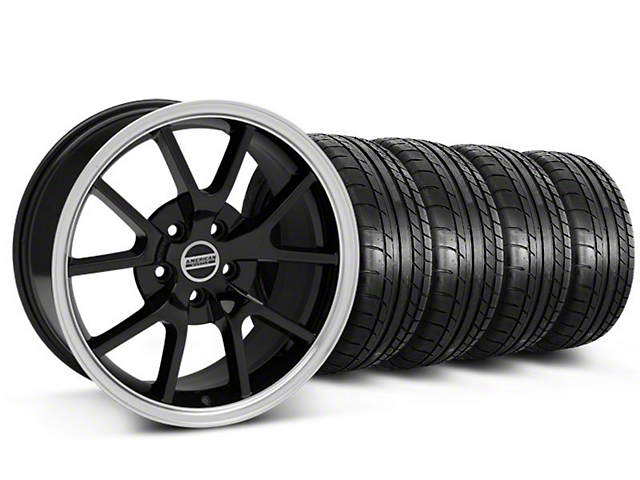 Staggered FR500 Style Black Wheel and Mickey Thompson Tire Kit; 18x9/10 (05-14 All)