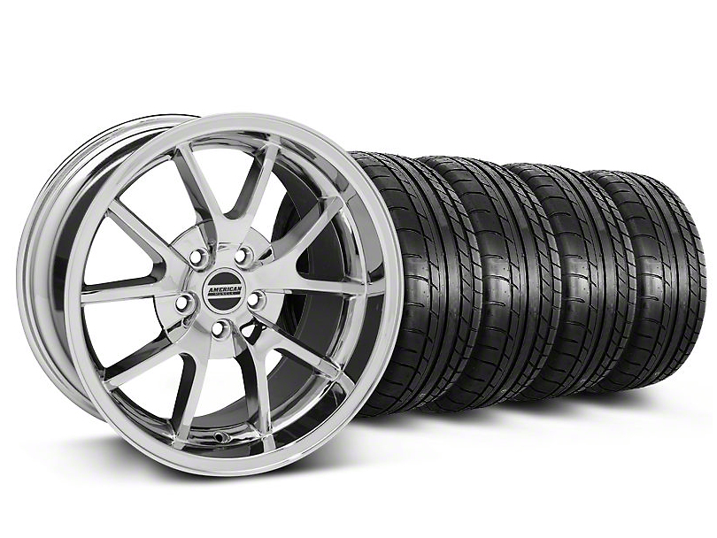 Staggered FR500 Style Chrome Wheel & Mickey Thompson Tire Kit - 18x9/10 (05-14)
