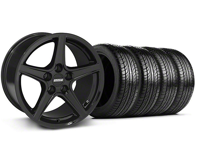Staggered Saleen Style Black Wheel and Pirelli Tire Kit; 19x8.5/10 (05-14 GT, V6)