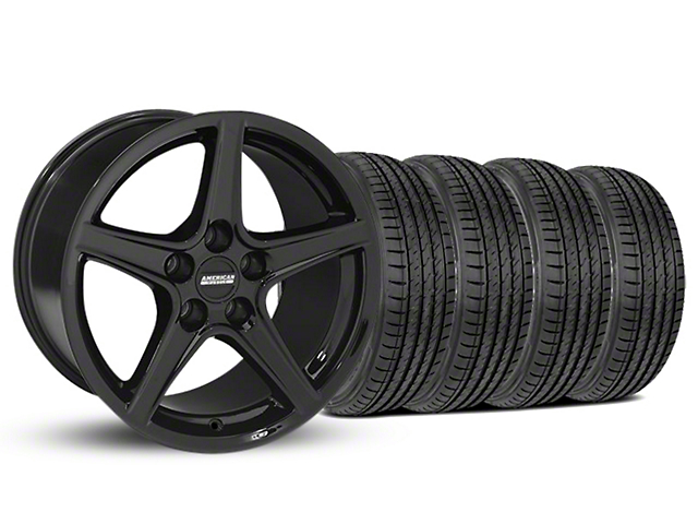 Staggered Saleen Style Black Wheel and Sumitomo Maximum Performance HTR Z5 Tire Kit; 19x8.5/10 (05-14 GT, V6)