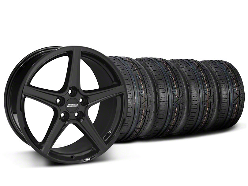 Staggered Saleen Style Black Wheel & NITTO INVO Tire Kit - 19x8.5/10 (05-14 All)