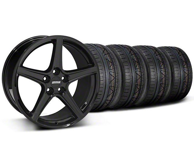 Staggered Saleen Style Black Wheel and NITTO INVO Tire Kit; 19x8.5/10 (05-14 All)