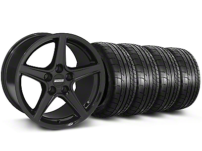 Staggered Saleen Style Black Wheel & Mickey Thompson Tire Kit - 19x8.5/10 (05-14 GT, V6)