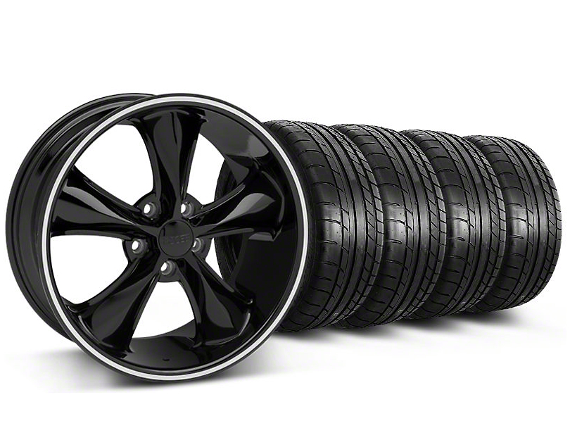 Staggered Foose Legend Black Wheel & Mickey Thompson Tire Kit - 20x8.5/10 (05-14 GT, V6)