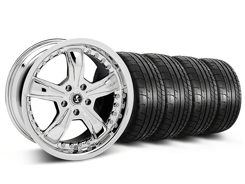 Staggered Shelby Razor Chrome Wheel and Mickey Thompson Tire Kit; 20x9/10 (05-14 GT, V6)
