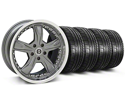 Staggered Shelby Razor Gunmetal Wheel & Mickey Thompson Tire Kit - 20x9/10 (05-14 All, Excluding 13-14 GT500)