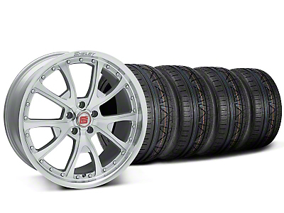 Staggered Shelby CS40 Silver Machined Wheel & NITTO INVO Tire Kit - 20x9/10 (05-14)