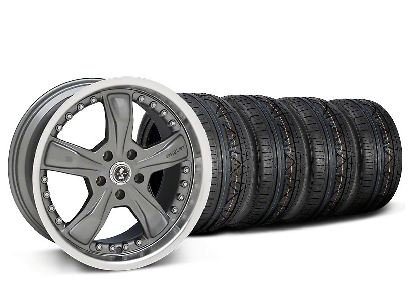 Staggered Shelby Razor Gunmetal Wheel and NITTO INVO Tire Kit; 20x9/10 (05-14 All, Excluding 13-14 GT500)