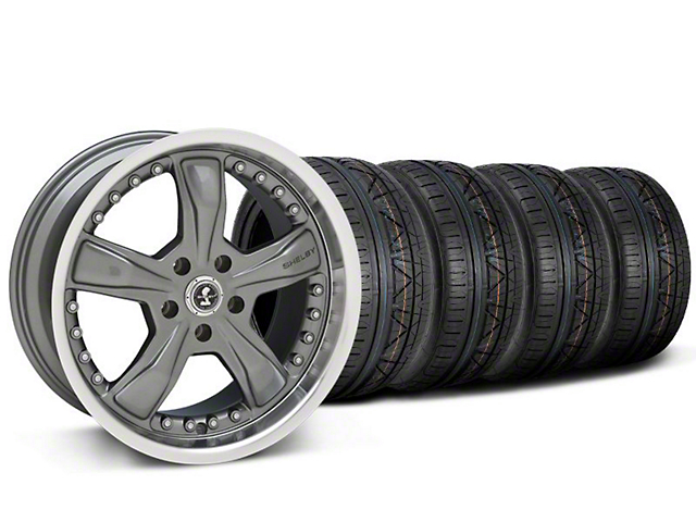Staggered Shelby Razor Gunmetal Wheel & NITTO INVO Tire Kit - 20x9/10 (05-14 All, Excluding 13-14 GT500)