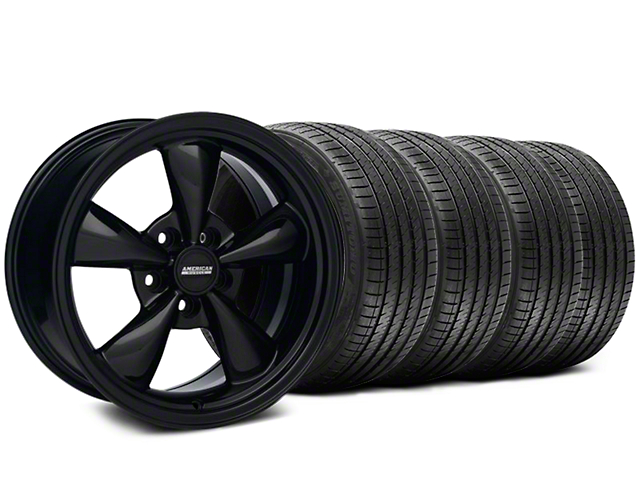 Bullitt Solid Black Wheel and Sumitomo Maximum Performance HTR Z5 Tire Kit; 17x9 (87-93 w/ 5 Lug Conversion)