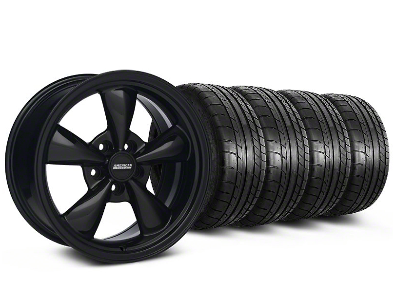 Bullitt Solid Black Wheel and Mickey Thompson Tire Kit; 17x9 (87-93 w/ 5 Lug Conversion)