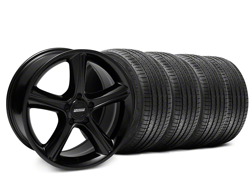 2010 GT Premium Style Black Wheel and Sumitomo Maximum Performance HTR Z5 Tire Kit; 18x9 (87-93 w/ 5 Lug Conversion)