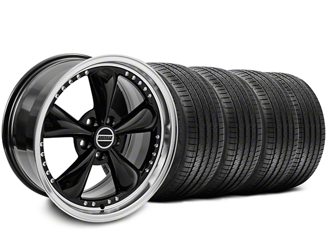 Bullitt Motorsport Black Wheel and Sumitomo Maximum Performance HTR Z5 Tire Kit; 18x9 (87-93 w/ 5 Lug Conversion)