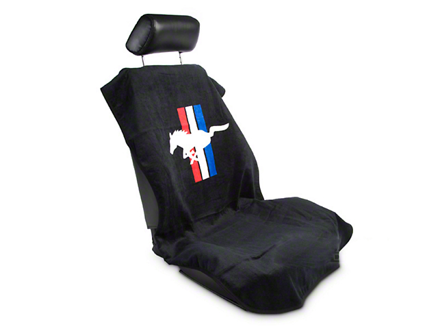 Alterum Seat Armour Protective Cover with Tri-Bar Pony Logo; Black (79-14 All)