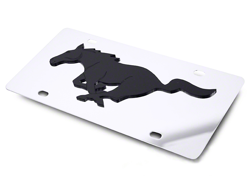 SpeedForm Front License Plate - Black Pony on Mirror (79-18 All)