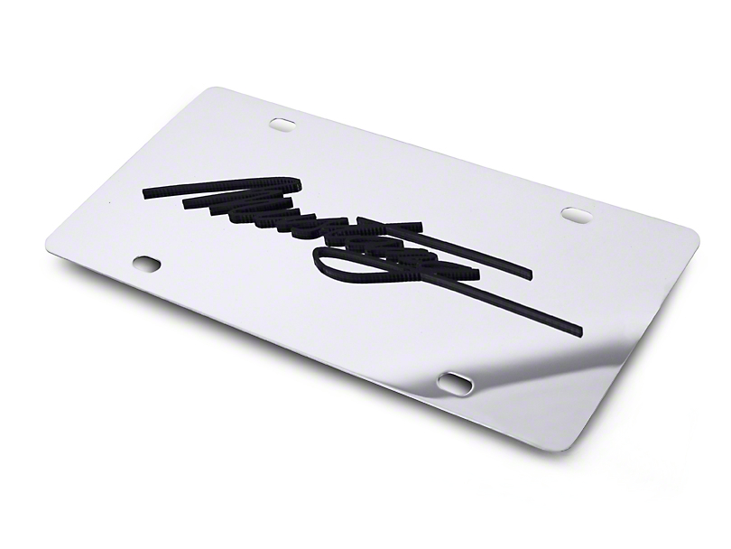 SpeedForm Front License Plate - Black Mustang Script (79-18 All)