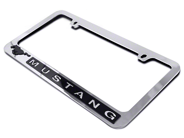 SpeedForm License Plate Frame   Black Pony W/ Mustang Lettering (79 18 All)