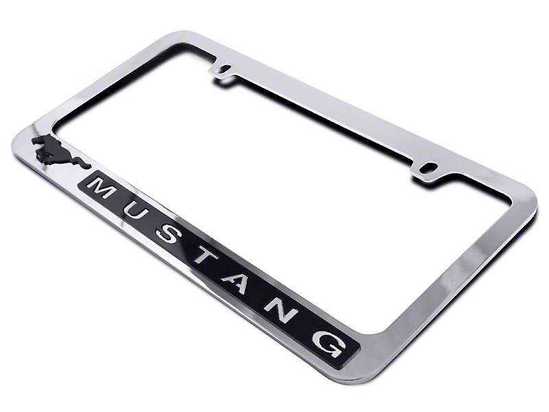 SpeedForm License Plate Frame - Black Pony w/ Mustang Lettering (79-19 All)