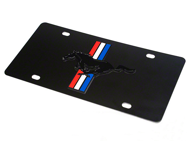 SpeedForm Front License Plate - Tri-Bar Pony on Black (79-18 All)