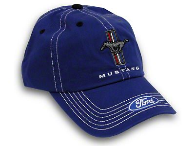 FORD MUSTANG BLACK AND RED HAT WITH TRI BAR LOGO