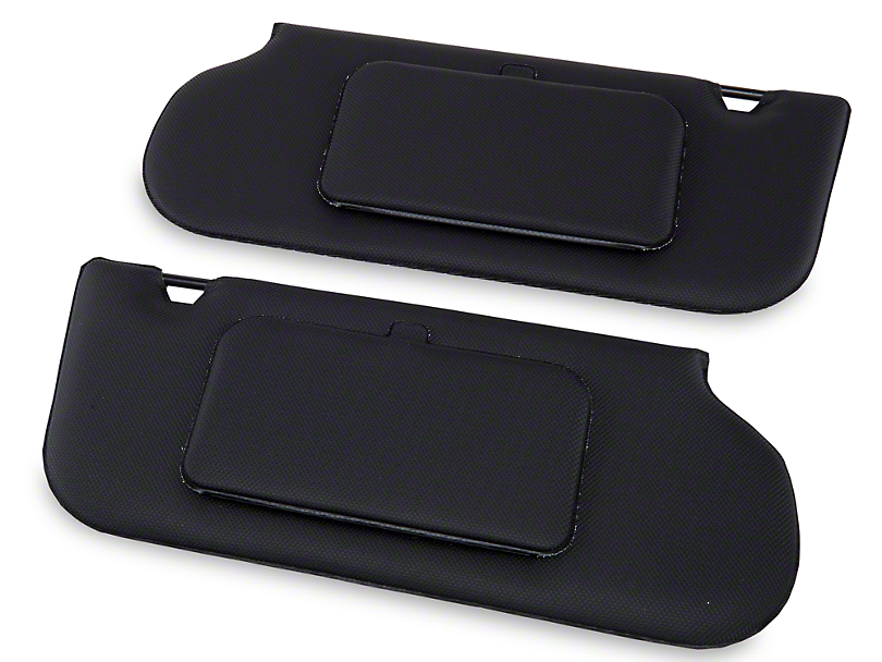 TMI Vinyl T-Top/Sunroof Sun Visors w/ Mirrors - Black (85-93 Coupe, Hatchback)