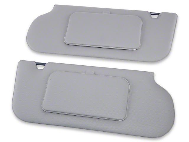 TMI Vinyl T-Top/Sunroof Sun Visors w/ Mirrors - Smoke Gray (87-89 Coupe, Hatchback)