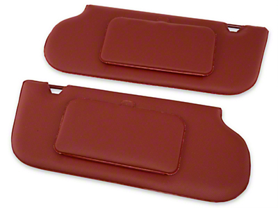 TMI Vinyl T-Top/Sunroof Sun Visors w/ Mirrors - Scarlet Red (85-93 Coupe, Hatchback)