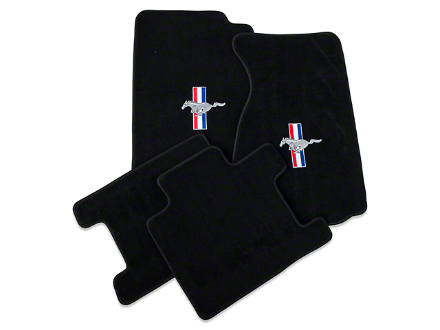 Lloyd Front & Rear Floor Mats w/ Tri-Bar Pony Logo - Black (94-98 Convertible)