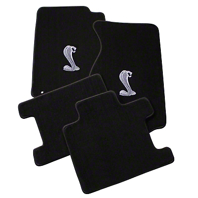 Lloyd Front & Rear Floor Mats w/ Cobra Logo - Black (94-98 Convertible)