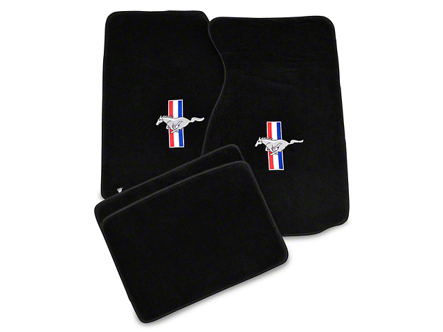 Lloyd Front and Rear Floor Mats with Tri-Bar Pony Logo; Black (99-04 All)