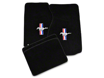Lloyd Front & Rear Floor Mats w/ Tri-Bar Pony Logo - Black (99-04 All)