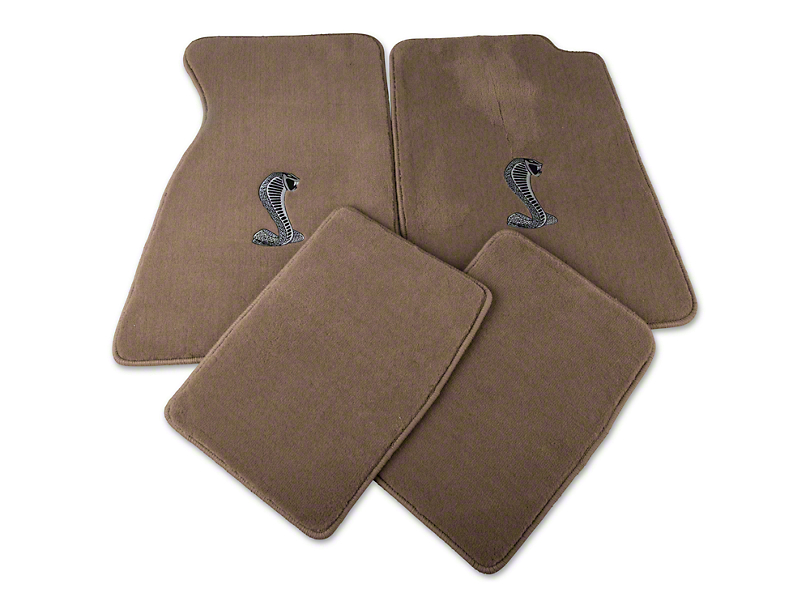 Lloyd Front and Rear Floor Mats with Cobra Logo; Parchment (99-04 All)