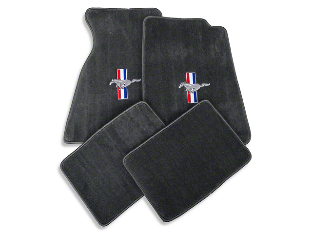 Lloyd Front and Rear Floor Mats with Tri-Bar Pony Logo; Gray (99-04 All)