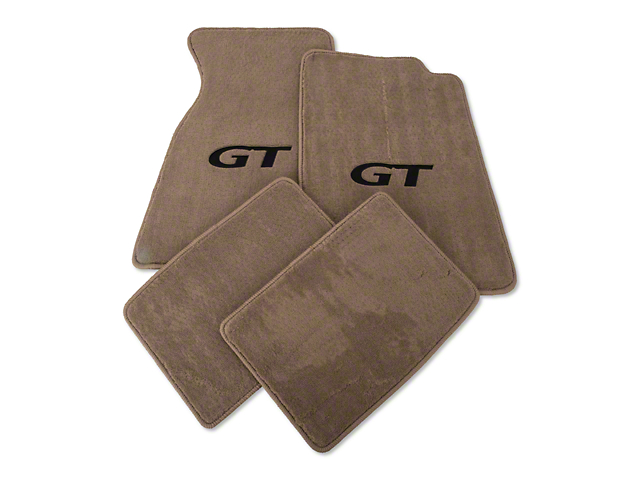 Lloyd Front and Rear Floor Mats with Black GT Logo; Parchment (99-04 All)