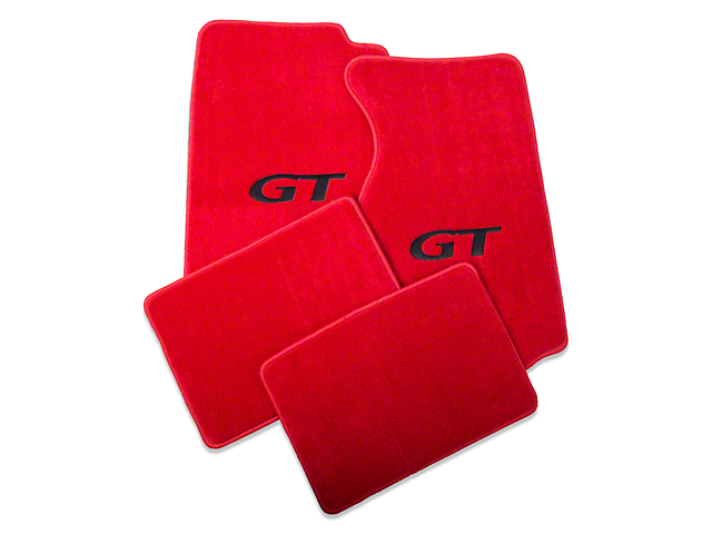 Lloyd Front and Rear Floor Mats with Black GT Logo; Red (99-04 All)