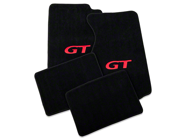 Lloyd Front and Rear Floor Mats with Red GT Logo; Black (94-98 Coupe)