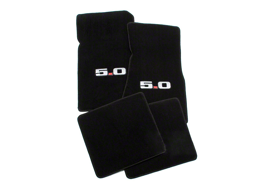 Lloyd Front and Rear Floor Mats with 5.0 Logo; Black (79-93 All)