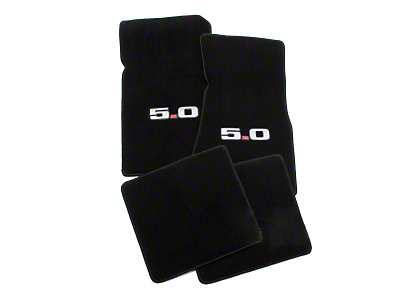 Lloyd Front & Rear Floor Mats w/ 5.0 Logo - Black (79-93 All)
