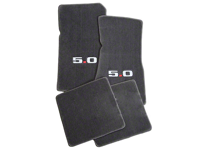 Lloyd Front and Rear Floor Mats with 5.0 Logo; Gray (79-93 All)