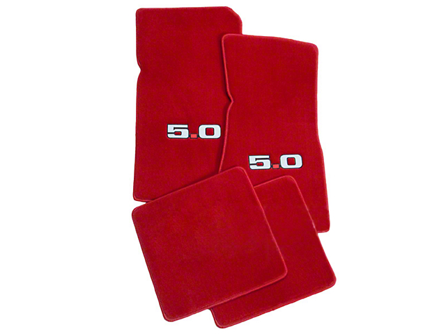 Lloyd Front and Rear Floor Mats with 5.0 Logo; Red (79-93 All)