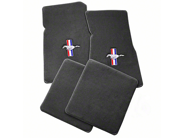 Lloyd Front and Rear Floor Mats with Tri-Bar Pony Logo; Gray (79-93 All)