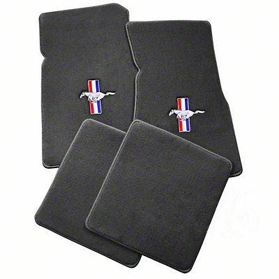 Lloyd Front & Rear Floor Mats w/ Tri-Bar Pony Logo - Gray (79-93 All)