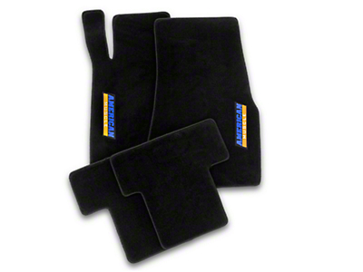 Alterum Front & Rear Floor Mats w/ AmericanMuscle Logo - Black (11-12 All)