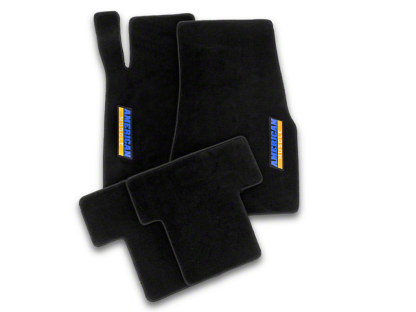 Alterum Front & Rear Floor Mats w/ AmericanMuscle Logo - Black (05-10 All)